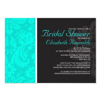 Turquoise Damask Bridal Shower Invitations
