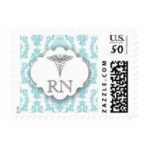 Turquoise Damask Caduceus RN Postage Stamp
