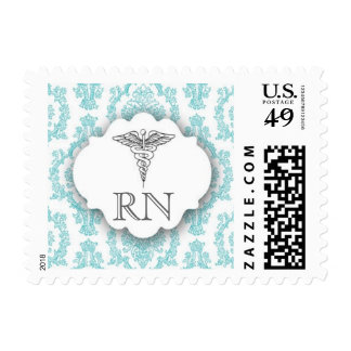 Turquoise Damask Caduceus RN Postage Stamp