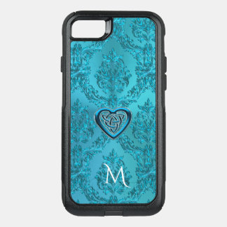 Turquoise Damask Celtic Heart Knot Monogram OtterBox Commuter iPhone 7 Case