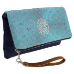 Turquoise Damask Celtic Knot Clutch
