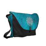 Turquoise Damask Celtic Knot Courier Bag
