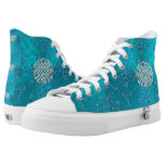 Turquoise Damask Celtic Knot High-Top Sneakers