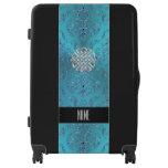 Turquoise Damask Celtic Knot Luggage