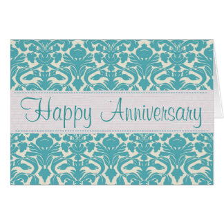 Turquoise Damask Customizable Anniversary Card