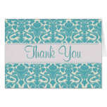 Turquoise Damask Customizable Thank You Card