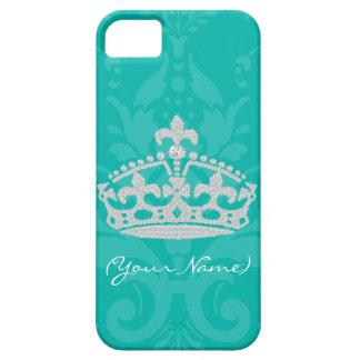 Turquoise Damask Diamond Princess Crown iPhone SE/5/5s Case