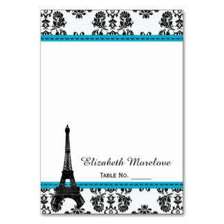 Turquoise Damask Eiffel Tower Tent Place Cards