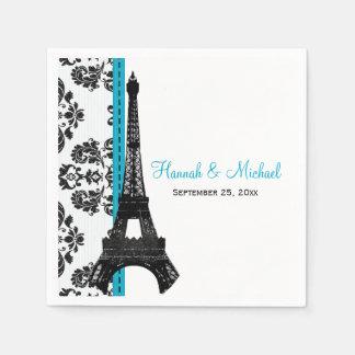 TURQUOISE Damask Eiffel Tower Wedding Napkin
