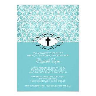 Turquoise Damask First Communion Inviation 5x7 Paper Invitation Card
