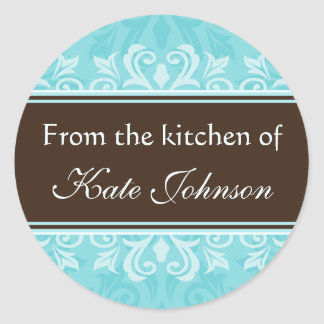 """Turquoise damask """"from the kitchen of"""" stickers"""