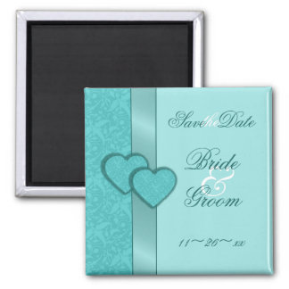 Turquoise Damask Hearts Save the Date Magnet