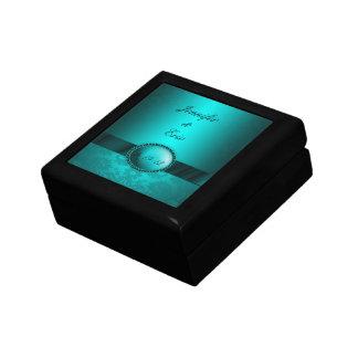Turquoise Damask Keepsake Box
