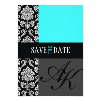 Turquoise Damask Monogram Save The Date Card