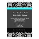 Turquoise Damask Monogram Wedding Invitation
