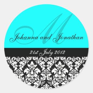 Turquoise Damask Monogram Wedding Stickers