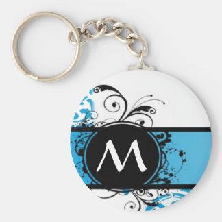 Turquoise damask monogrammed basic round button keychain