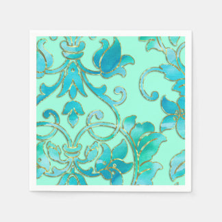 Turquoise Damask on Any Color Background Paper Napkin
