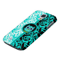 turquoise damask owl samsung galaxy s4 case