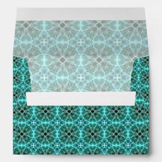 Turquoise damask pattern envelopes