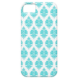 TURQUOISE DAMASK PATTERN,WHITE iPHONE 5 CASE
