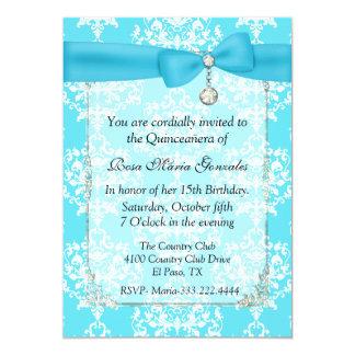 Turquoise Damask Quinceañera Invitation