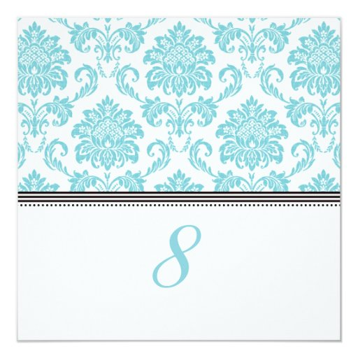 Turquoise Damask Reception Table Number Invitation