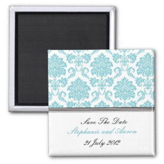 Turquoise Damask Save The Date magnet