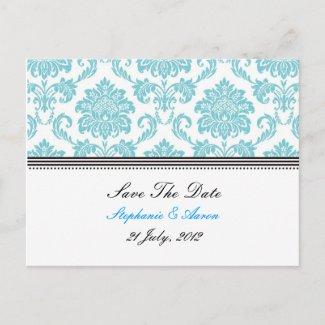 Turquoise Damask Save The Date Postcard postcard