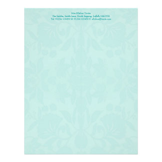 Turquoise Damask Stationery Personalized Letterhead