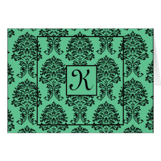 Turquoise Damask Thank You Card