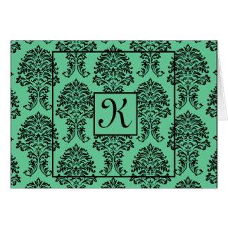 Turquoise Damask Thank You Card