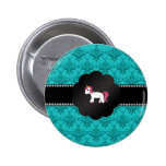 Turquoise damask unicorn button