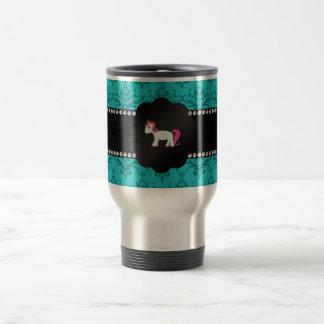 Turquoise damask unicorn 15 oz stainless steel travel mug