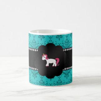 Turquoise damask unicorn classic white coffee mug