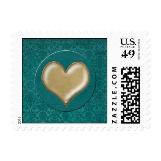 Turquoise Damask Vintage Gold Heart Mail Stamp
