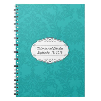 Turquoise Damask Wedding Planning Guest Book Notebook