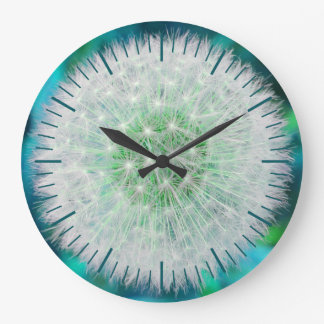 Turquoise dandelion clock, with minutes and hours large clock