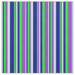[ Thumbnail: Turquoise, Dark Blue, Lime & Dark Orchid Colored Fabric ]