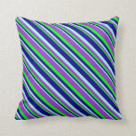 [ Thumbnail: Turquoise, Dark Blue, Lime & Dark Orchid Colored Throw Pillow ]