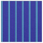 [ Thumbnail: Turquoise & Dark Blue Lines/Stripes Pattern Fabric ]
