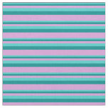 [ Thumbnail: Turquoise, Dark Cyan, and Plum Pattern of Stripes Fabric ]