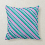 [ Thumbnail: Turquoise, Dark Cyan, and Plum Pattern of Stripes Throw Pillow ]