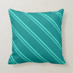[ Thumbnail: Turquoise & Dark Cyan Colored Pattern Throw Pillow ]
