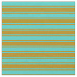 [ Thumbnail: Turquoise & Dark Goldenrod Lines Fabric ]