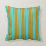 [ Thumbnail: Turquoise & Dark Goldenrod Lines Throw Pillow ]