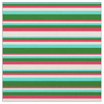 [ Thumbnail: Turquoise, Dark Green, Crimson, and Beige Lines Fabric ]