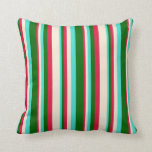 [ Thumbnail: Turquoise, Dark Green, Crimson, and Beige Lines Throw Pillow ]