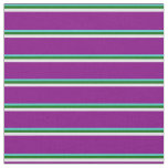[ Thumbnail: Turquoise, Dark Green, Lavender & Purple Lines Fabric ]