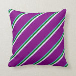 [ Thumbnail: Turquoise, Dark Green, Lavender & Purple Lines Throw Pillow ]